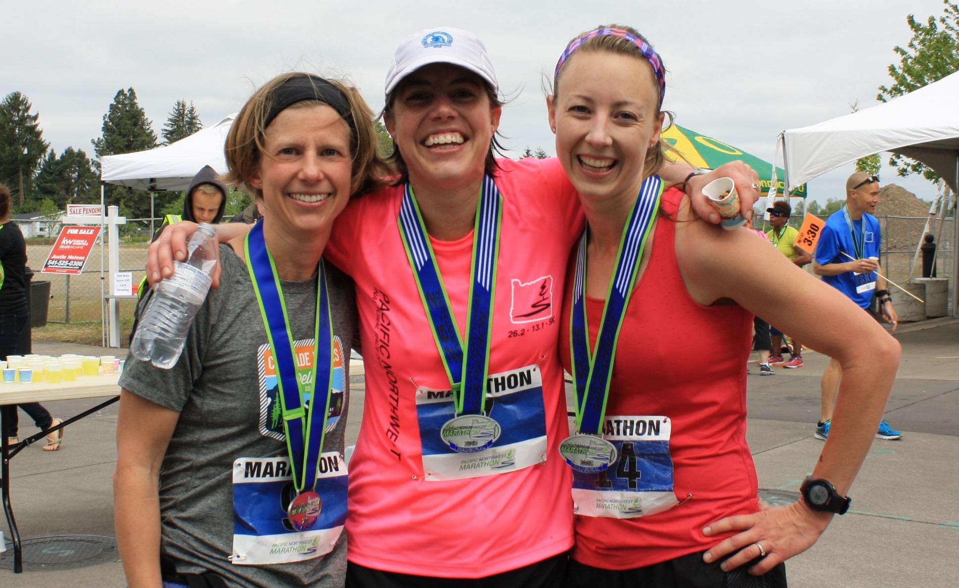 Three who ran their Boston Qualifier Marathon - Congratulations!